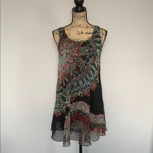 Angie Multi-Colored Patterned Silk Slvless Dress
